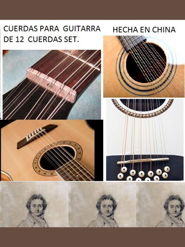 Set 12 cuerdas para guitarra marca paganini